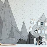 Black Geometric Mountain Mural | W1081