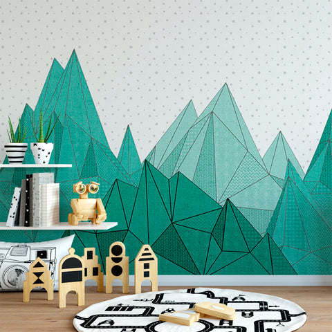 Teal Green Geometric Mountain Mural | W1082