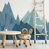 Blue Geometric Mountain Mural | W1083