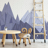 Purple Geometric Mountain Mural | W1084