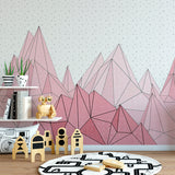 Pink Geometric Mountain Mural | W1085