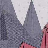 Purple and Pink Geometric Mountain Mural | W1087