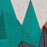 Blue and Orange Geometric Mountain Mural | W1088