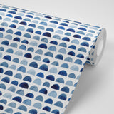 Indigo Water Color Half Dots | W1136