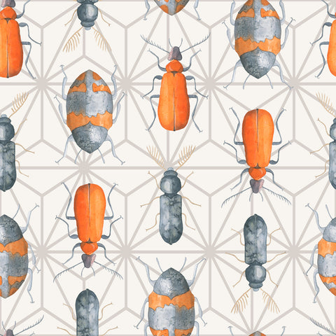 Geometric Beetle Bug Watercolor Pattern | W1171