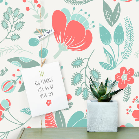 Flora And Fauna Features Large Floral Removable Wallpaper By