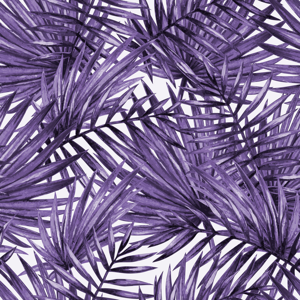 Palm Leaf Pattern Removable Wallpaper In Violet By Wallspruce