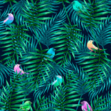 Watercolor Palm Leaves and Birds | W1187
