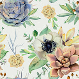 Removable Wallpaper with Large Flowers