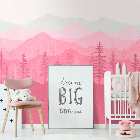 Pink Ombré Mountain Mural | W1223