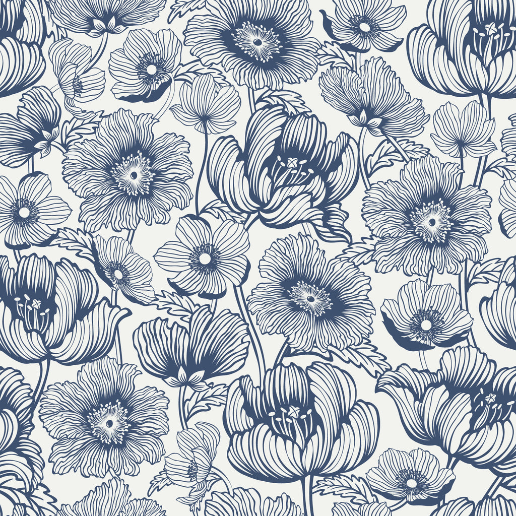 Poppy Fields Large Floral Removable Wallpaper By Wallspruce
