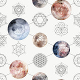 Watercolor Moons and Sacred Geometry | W1238