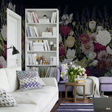 Dark Watercolor Floral Garden Wall Mural | W1239
