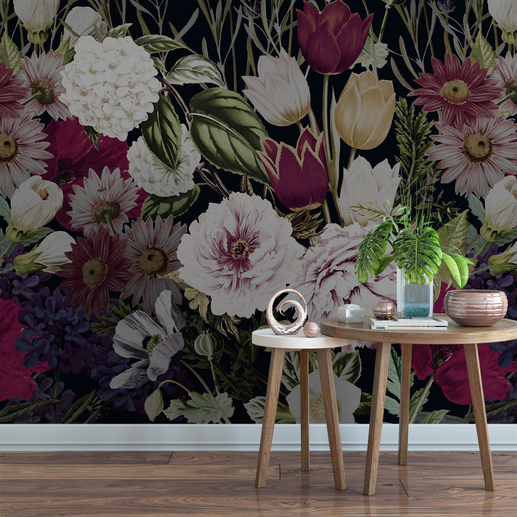 Dark Watercolor Floral Garden Wall Mural Removable Wallpaper By