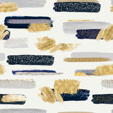 Navy Blue, Gold, and Silver Brush Strokes | W1246