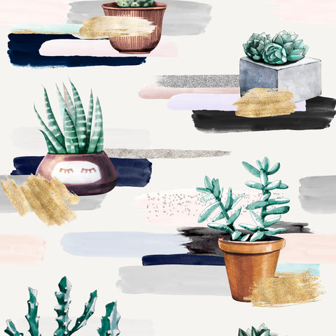 Cute Potted Cactus Watercolor Brush Strokes | W1259