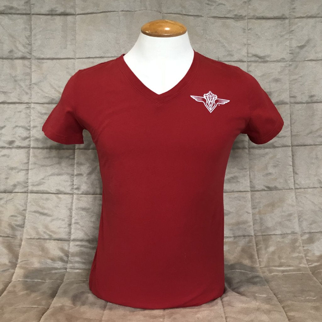 Ladie's V-Neck Shirt - Red