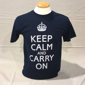 'Keep Calm and Carry On' T-Shirt - Blue