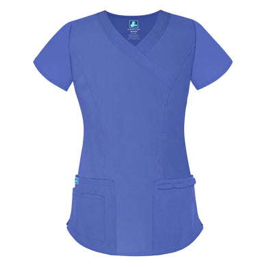 Double Stitched Mock Wrap Scrub Top
