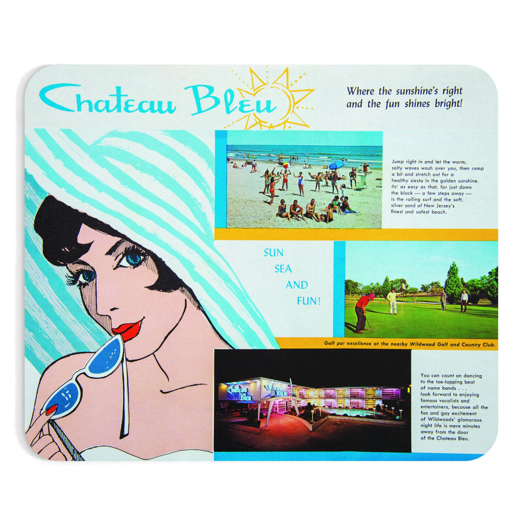 Chateau Bleu Motel 1960's Brochure, North Wildwood, NJ - Mousepad