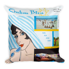 Chateau Bleu Motel 1960's Brochure - Square Pillow