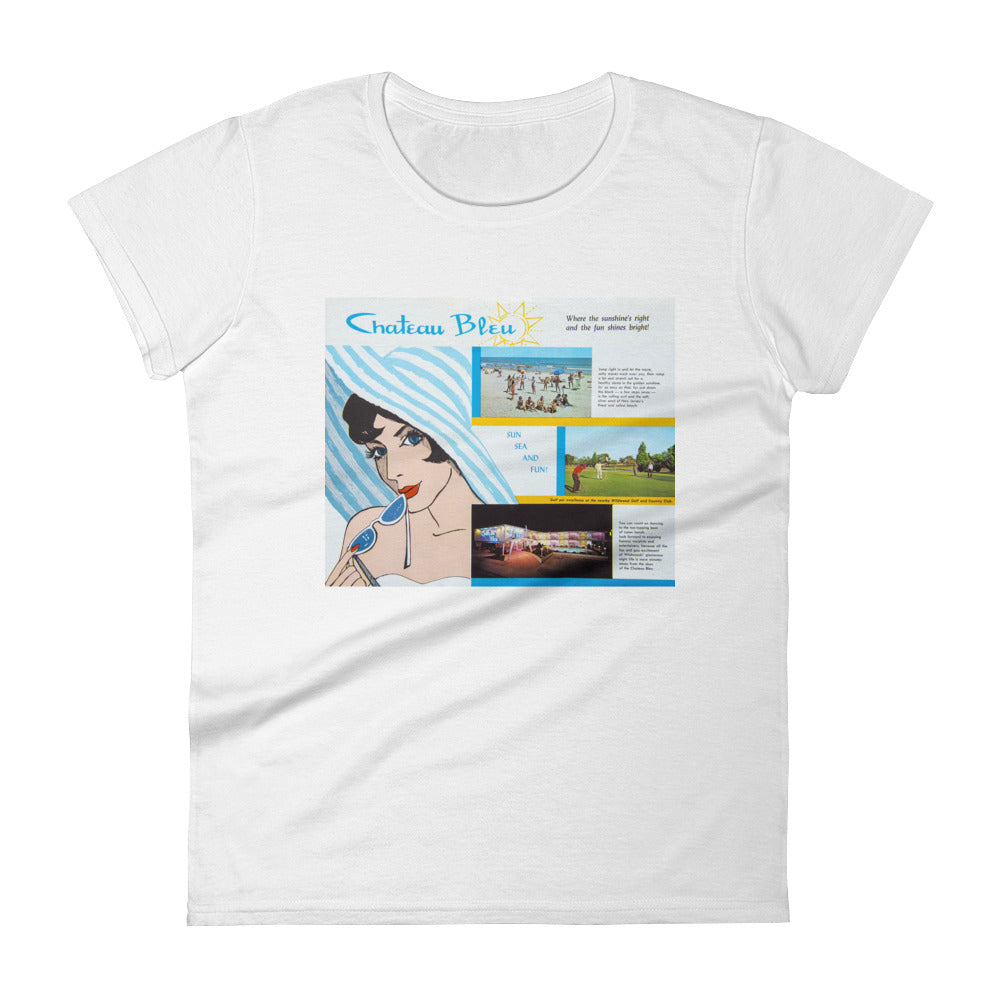 Chateau Bleu Motel 1960's Brochure - Women's Short Sleeve T-Shirt
