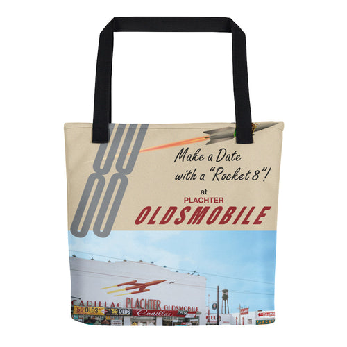 1959 Oldsmobile with Rocket 8 Engine ad from Plachter Oldsmobile - Tote Bag