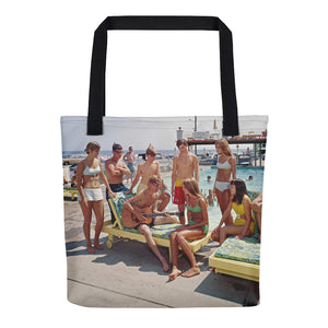Teenagers playing the guitar, Gondolier Motel Pool, Wildwood, NJ - Tote Bag