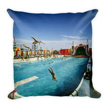 Aqua Circus Pool, 1970's Wildwood, NJ - Square Pillow