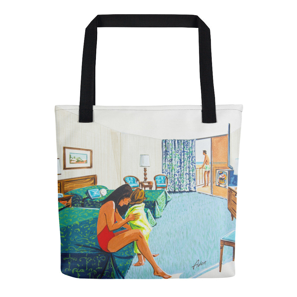 Motel Room with a young family. 1960's artwork. - Tote Bag