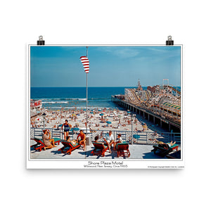 Shore Plaza 1960's Sundeck and Boardwalk View, Wildwood, NJ - Poster