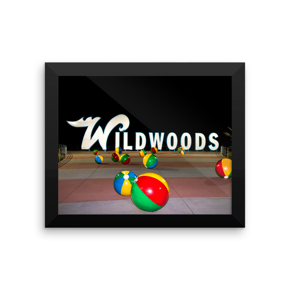 Wildwood's Sign on the Boardwalk in Wildwood, NJ - Not Retro, Still Cool! - Framed photo paper poster