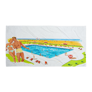 Retro Couple by the Pool - Beach Blanket