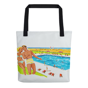 Retro Couple by the Pool, Original 1960's Artwork - Tote Bag