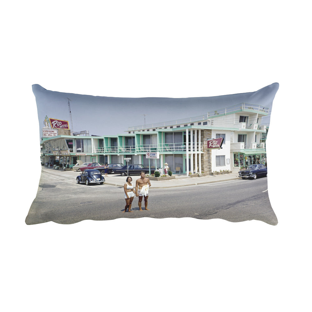 Rio Motel in the 1960's, Wildwood, NJ - Rectangular Pillow
