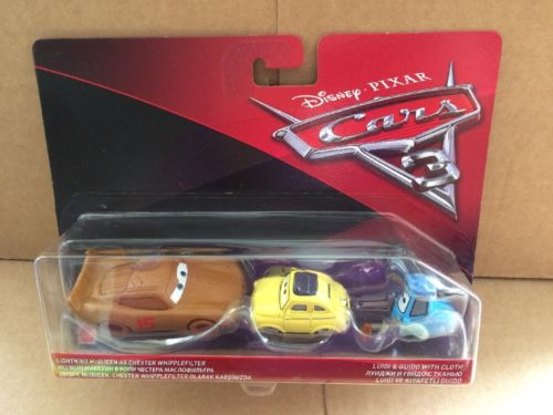 DISNEY CARS 3 DIECAST - Chester Whipplefilter, Luigi and Guido with cloth
