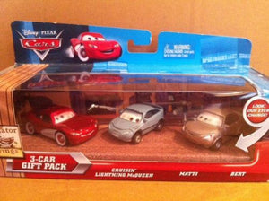 DISNEY CARS DIECAST - 3 Car Gift Pack with Cruisin McQueen Matti Bert
