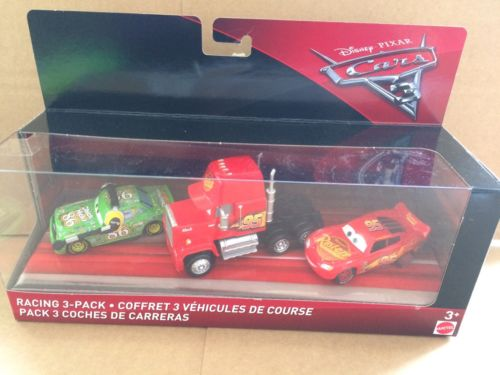 DISNEY CARS 3 DIECAST - Racing 3 Pack -Lightning, Mack, Chick Hicks With Headset