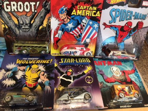 HOT WHEELS DIECAST - Marvel set of 6 - Ant-Man Groot Spider-Man Wolverine