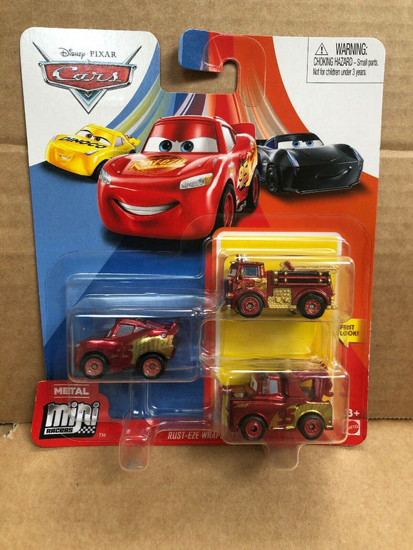 DISNEY CARS Mini Racers - set of 3 with Rusteze Wrap LMQ Mater Red