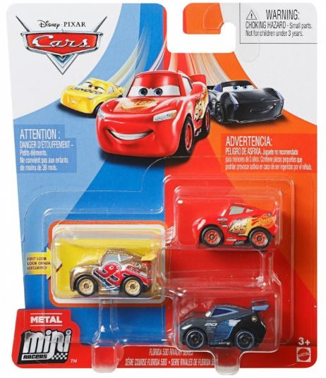 DISNEY CARS Mini Racers - set of 3 with Gold Rusteze Cruz Jackson and LMQ