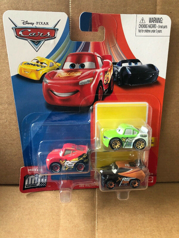 DISNEY CARS Mini Racers - set of 3 with XRS Racers LMQ Brick Treadless