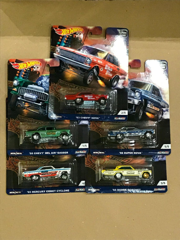 HOT WHEELS DIECAST - Real Riders Car Culture - Drag Strip Demons Set Of 5