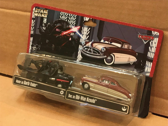 DISNEY CARS DIECAST Star Wars - Mater as Vader Doc as Obi-Wan Kenobi