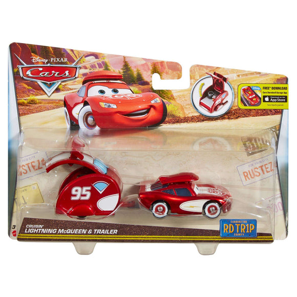 DISNEY CARS DIECAST - Road Trip Cruisin' Lightning McQueen with Trailer