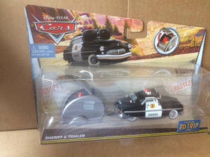DISNEY CARS DIECAST - Road Trip Sheriff and Trailer