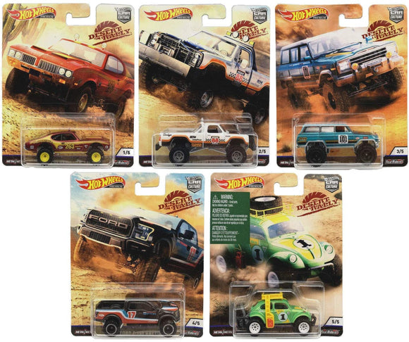 HOT WHEELS DIECAST - Real Riders Car Culture - Desert Rally Set Of 5