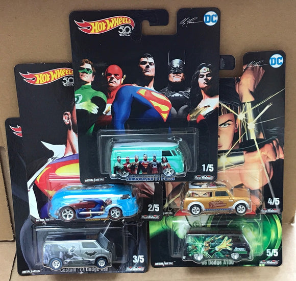 HOT WHEELS DIECAST - Real Riders Pop Culture - DC Comics Alex Ross Set Of 5