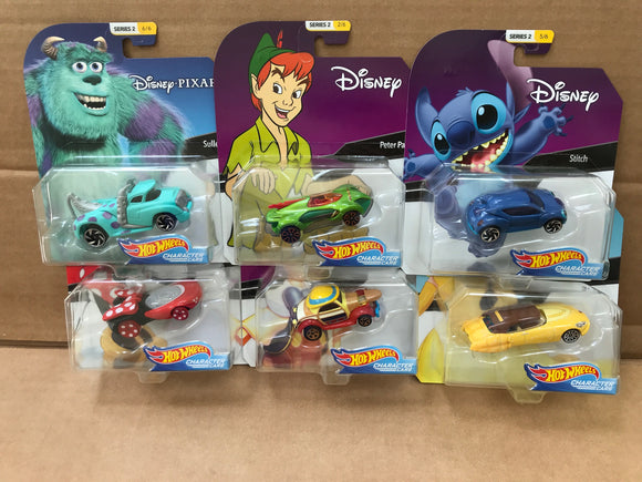 HOT WHEELS Character Cars - Disney Series 2 set of 6