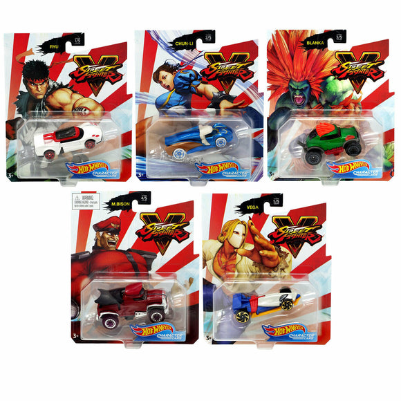 HOT WHEELS DIECAST - Character Cars - Street Fighter set of 5